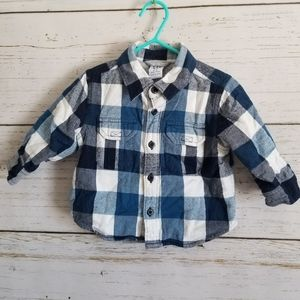 GAP Jersey-lined Plaid Flannel Shirt 6-12m